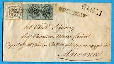 1855 PONTIFICIO 1/2 b.(1)COPPIA BORDO DI FOGLIO su ASSICURATA da PERGOLA(244888)