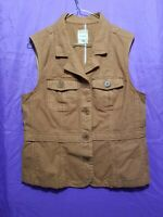 Fossil Brown tan casual Vest  Size X Large sleeveless button up Tan Brown Color