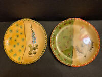 """VTG Neiman Marcus Hand Painted Pottery 2 Floral Pie Plates Italy Signed 10.5"""""""