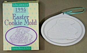Grandpa Bunny & Herbie Longaberger Pottery Bunny Series Cookie Mold 1995 Easter