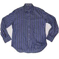 Robert Graham Shirt Flip Cuff Long Sleeve Button Up Mens Size XL Blue