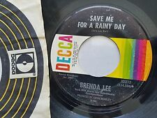 Brenda Lee - Where's The Melody ? / Save Me For A Rainy Day 1967 Decca Pop