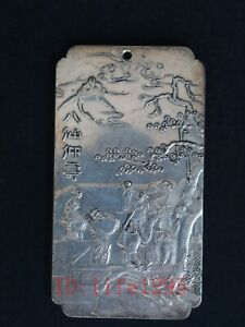 Collection China Old Tibet Silver Handwork Carved Eight Immortals Buddha Pendant