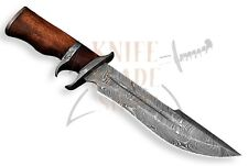 DAMASCUS STEEL BLADE SUB-HILT BOWIE KNIFE,WOOD HANDLE .