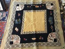 """Vintage NEEDLEPOINT PETIT POINT CARD/GAME TABLE COVER 36""""X36"""""""