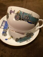"""ROYAL WORCESTER """"VERY IMPORTANT PERSON"""" CUP AND SAUCER VINTAGE CARS"""