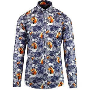 "Men's Guide London Shirt Fox White Navy Long Sleeves New XL £90 Cotton 43"" 44"""