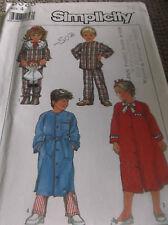 SEWING PATTERN CHILDS BOY GIRL ROBE AND PAJAMAS SIZE 4 UNCUT