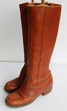 Vintage 1970s 70s Women's Bort Carleton Knee High Boots Brown Leather 7.5