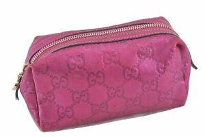 Authentic GUCCI Guccissima GG Leather Pouch Heart 153228 Metallic Pink E1115