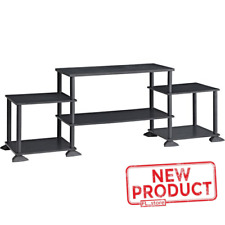 TV Stand Entertainment Center Media Console Wood Storage No Tools Assembly Black