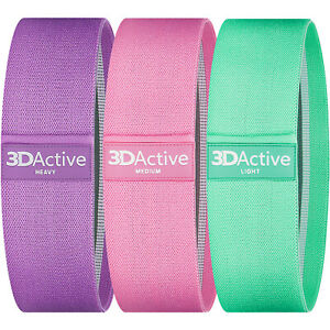 3DActive Fabric Resistance Bands Set Legs Glutes Butt Wide Non-Slip Glute Band