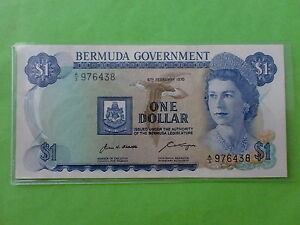 Bermuda $1 6th February 1970 Queen Elizabeth (UNC) A/3 976438
