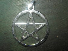 VINTAGE SILVER TONE 25MM PAGAN PENTAGRAM WICCAN 5 POINTED STAR PENDANT NECKLACE