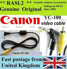 Genuine Canon Vc-100 Camera Video Cable 3.5mm Jack Plug to Phono 40d 50d 450d