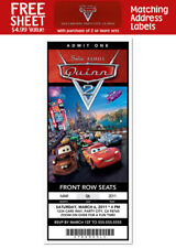 6 Cars Movie Birthday Party Personalized Ticket Style Invitations