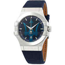 Maserati Potenza Blue Dial Blue Leather Men's Watch R8851108015