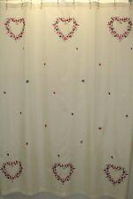 Hearts Fabric Bathroom Shower Curtain Cream Flowers Petals Teflon Coated 70x72