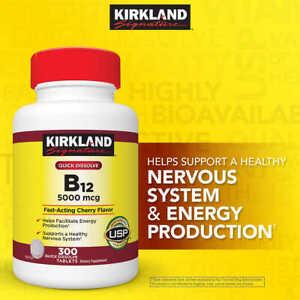 Kirkland Signature Quick Dissolve B12 5000 mg 300 Tablets Methylcobalamin 08/23