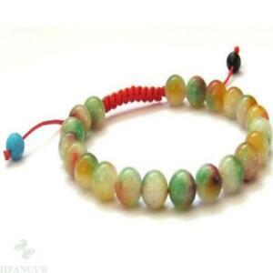 8mm flower jade beads handmade braided rope adjustable bracelet Bead Reiki