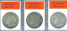 Lot of 3 Morgan Dollars 1921 1921-D 1921-S All Grade VF+  to XF