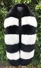 Selected Saga Furs Black White Fox Fur Multi color Shoulder Wrap Scarf Boa Stole
