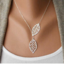 New Women's Fashion Jewelry 925 Silver Plated Leaf Pendant Necklace 13-10