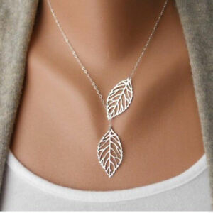 New Women's Fashion Jewelry 925 Silver Plated Leaf Pendant Necklace TK1-10