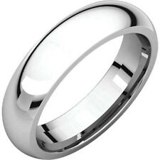 5mm 18K Solid White Gold Plain Dome Half Round Comfort Fit Wedding Band Ring