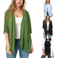 Charming Women's Solid Standard Sheer Loose Kimono Cardigan Casual  Beach Capes