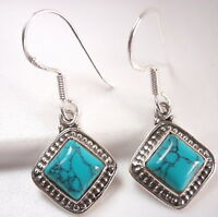 Turquoise Squares with Silver Dot Accents 925 Sterling Silver Dangle Earrings