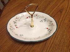 Pfaltzgraff Winterberry Handled Candy Dish Server, oval w/ goldtone handle