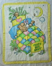 Vtg Susan Perl Quilt Blanket Yellow Pleat Ruffle Thats Our Baby Bunny Bird 36x47