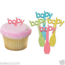 Baby shower partito PLASTICA cupcake torta gelato Decorazione Plettri CUCCHIAI