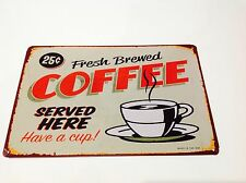 Cartello in metallo 1950s USA Caffè Vintage Placca TAVERNA Muro TIN CAFE Decor BAR POSTER