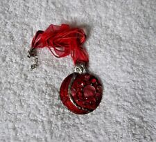 Ex-Display SILVER Alloy Two-Tone RED ENAMEL Round NECKLACE With Rhinestones