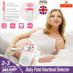 Baby Heart Beat Rate Monitor Pocket Fetal Doppler LCD Probe Pregnancy Fetus Pink