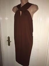 Size M 10-12 Mango Suit Tobacco Brown Knee Length Twist Front Dress