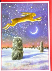 Wendy Andrew yule christmas solstice Hare fox Card sacred stones moon pagan