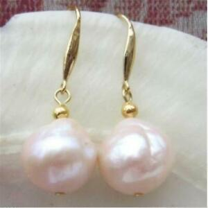 12mm Natural South Sea Baroque Rose Gold Pearl Earrings 14k Wedding Flawless
