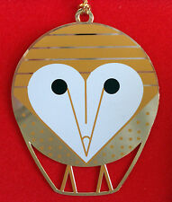 Charlie/ Charley Harper - Brass Christmas Ornament - BARN OWL - fun bird art