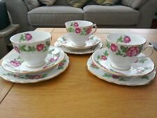 Pretty Royal Vale Roses 3 Tea Cups, Saucers and Plates Patt No 7201