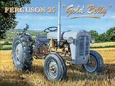 Ferguson 35 Gold Belly Grey Fergie Farm Tractor Old Garage Small Metal Tin Sign