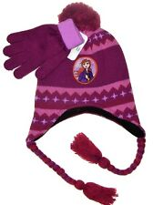DISNEY FROZEN 2 ANNA Knit Peruvian Winter Hat & Gloves Set w/ Pom-Pom NWT