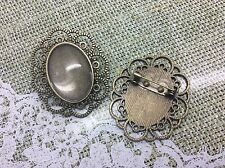 3 x Bronze Brooch Blank Base Diy Kit Vintage Tray Setting with Glass Cabochons