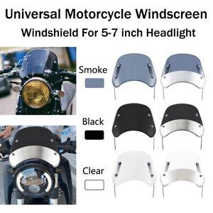 "Motorcycle Windscreen Windshield For All 5-7"" Headlight Honda Yamaha Cafer Racer"