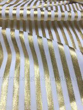 "White Gold Spandex Metallic 1/4"" Stripes Fabric 57""W STRETCH EGYPT COSTUME DRESS"