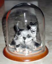 Vintage EPP&Co Miniature Dog with Puppies Figurine Germany Porcelain glass dome