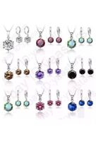 Crystal Rhinestone Cubic Zirconia Gemstone Round Drop Necklace Earrings Set
