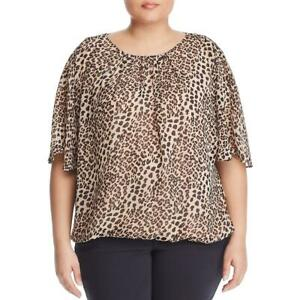 Vince Camuto Womens Leopard Print Layered Blouson Blouse Top Plus BHFO 7449